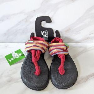SANUK Yoga Mat Sling 2 Prints Red Striped Sandals